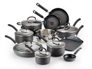 T-Fal E765SH Titanium Nonstick Cookware Set, 17-Piece, Gray