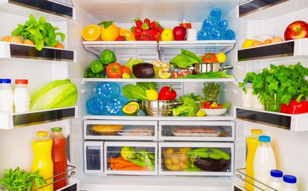 Salads, Vegetables, and Fruits in the Fridge