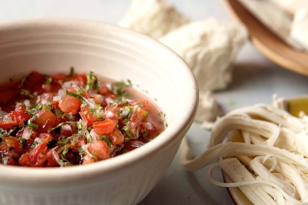 Tripas with Pico de Gallo via Epicurious